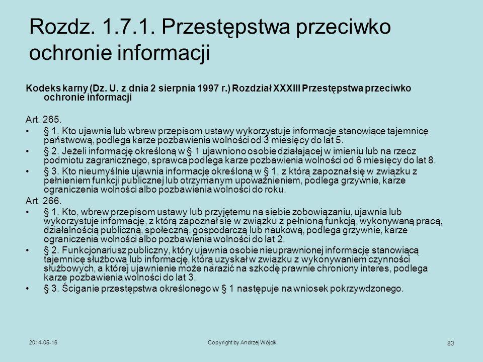 2014-05-16Copyright by Andrzej Wójcik 83 Rozdz. 1.7.1. Przestępstwa przeciwko ochronie informacji Kodeks karny (Dz. U. z dnia 2 sierpnia 1997 r.) Rozd