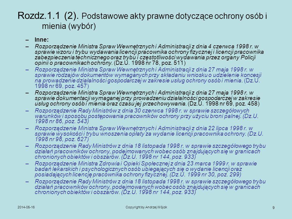 2014-05-16Copyright by Andrzej Wójcik 9 Rozdz.1.1 (2). Podstawowe akty prawne dotyczące ochrony osób i mienia (wybór) –Inne: –Rozporządzenie Ministra