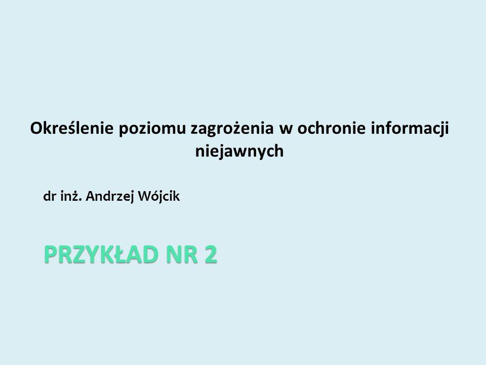 PRZYKŁAD NR 2 dr inż. Andrzej Wójcik Określenie poziomu zagrożenia w ochronie informacji niejawnych
