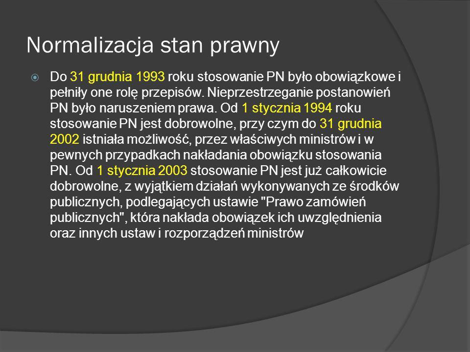 Polska Norma a Unia Europejska Od chwili ratyfikacji Traktatu ateńskiego 1 maja 2004 r., na mocy którego Polska stała się członkiem Unii Europejskiej Polski Komitet Normalizacyjny zajmuje się przede wszystkim wprowadzaniem do PN Norm Europejskich, tworzonych przez Europejski Komitet Normalizacyjny.