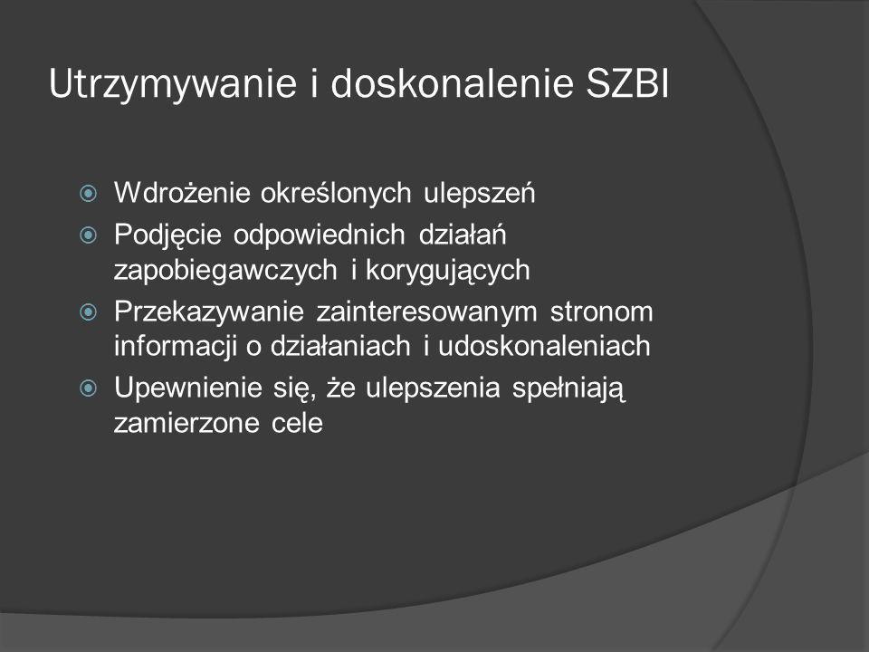 Rozdziały 4 (cd.) i 5 - 8 4.3 Wymagania dotyczące dokumentacji 5 Odpowiedzialność kierownictwa 6Wewnętrzne audyty SZBI 7Przegląd SZBI realizowany przez kierownictwo 8Doskonalenie SZBI