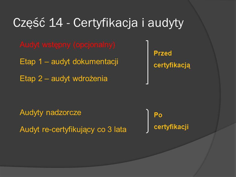 Etap 1 – Stanowi istotną część procesu audytu do certyfikacji wg ISO/IEC 27001:2005 Etap 1 – audyt dokumentacji Zwykle przeprowadzany u audytowanego Polega na badaniu struktury SZBI pod względem zgodności z ISO/IEC 27001:2005 Polega na badaniu polityki, zakresu, szacowania ryzyka, zarządzania ryzykiem, wyborem zabezpieczeń i deklaracją stosowania Audytorzy prawdopodobnie nie będą dogłębnie badać określonych procedur, ale będą oczekiwać odpowiedniego oznakowania wskazującego na normy, procedury i instrukcje robocze.