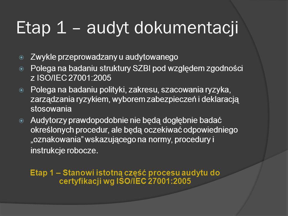 Etap 2 – audyt wdrożenia Prześledzenie niezgodności z etapu 1 – audytu dokumentacji Weryfikacja wdrożenia i eksploatacji SZBI Bardziej skoncentrowany Dogłębny Audytor wiodący dokonuje rekomendacji, ale nie podejmuje ostatecznej decyzji dotyczącej certyfikacji, która zostaje potwierdzona przez biuro