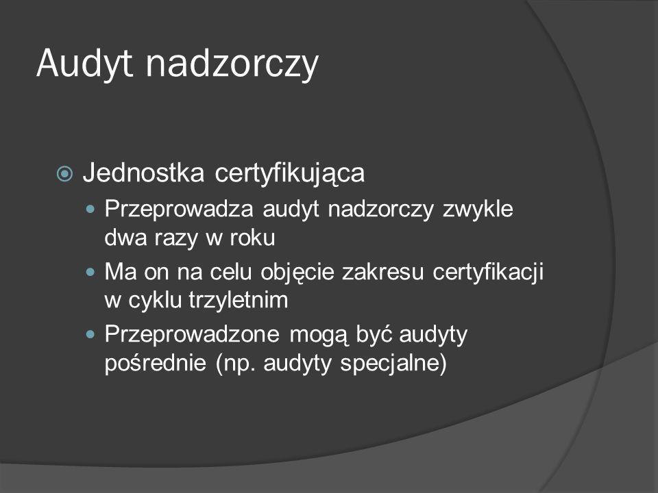 Re-certyfikacja co trzy lata Okres ważności certyfikatu wynosi trzy lata Pod koniec tego okresu jednostka certyfikująca może przedłużyć certyfikat na kolejny okres trzech lat pod warunkiem pozytywnej re- certyfikacji