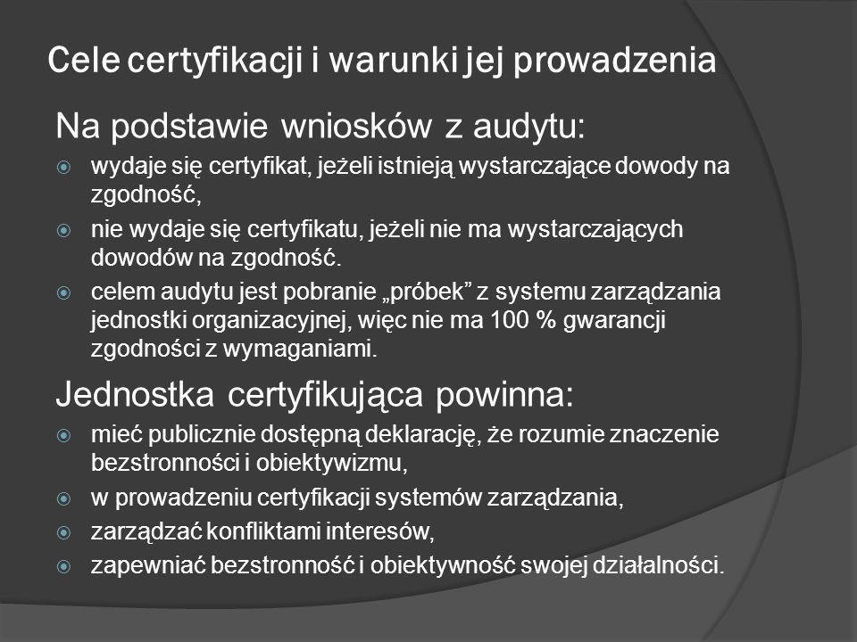 Certyfikacja systemów zarządzania w informatyce W dziedzinie informatyki proces certyfikacji oparty na Polskich Normach jest prowadzony w odniesieniu do: Systemu Zarządzania Bezpieczeństwem Informacji (SZBI) – zgodnie z wymaganiami normy PN ISO/IEC 27001:2007 [4], będącej implementacją normy międzynarodowej ISO/IEC 27001:2005 Information technology – Security techniques – Information security management systems – Requirements; Systemu Zarządzania Usługami Informatycznymi (SZUI) – zgodnie z wymaganiami norm PN ISO/IEC 20000-1:2007 [2] i PN-ISO/IEC 20000-2:2007 [3], będących implementacją norm międzynarodowych odpowiednio ISO/IEC 20000-1:2005 Information technology – Service management – Part 1: Specification i ISO/IEC 20000-2:2005 Information technology – Service management – Part 2: Code of practice.