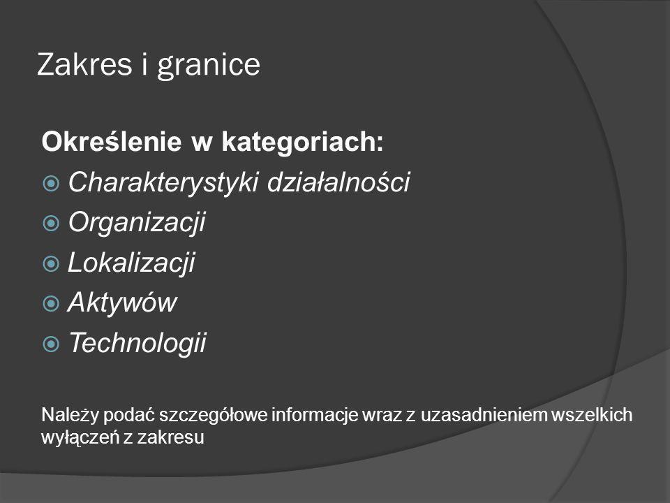 Zakres i granice Określenie w kategoriach: Charakterystyki działalności Organizacji Lokalizacji Aktywów Technologii Należy podać szczegółowe informacj
