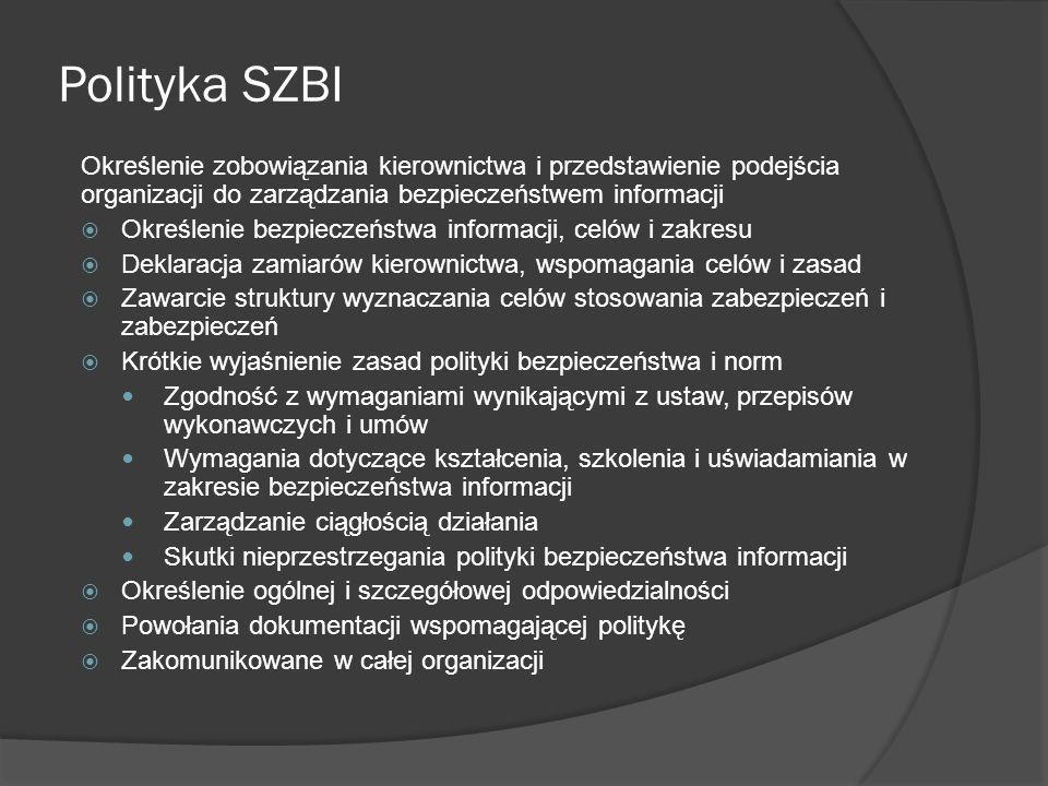 Rodzaje stosowanych polityk Wewnętrzna Polityka bezpieczeństwa zakomunikowana wszystkim pracownikom Poziomy polityki – więcej niż jeden Pod-polityki (podsystemy SZBI) np.