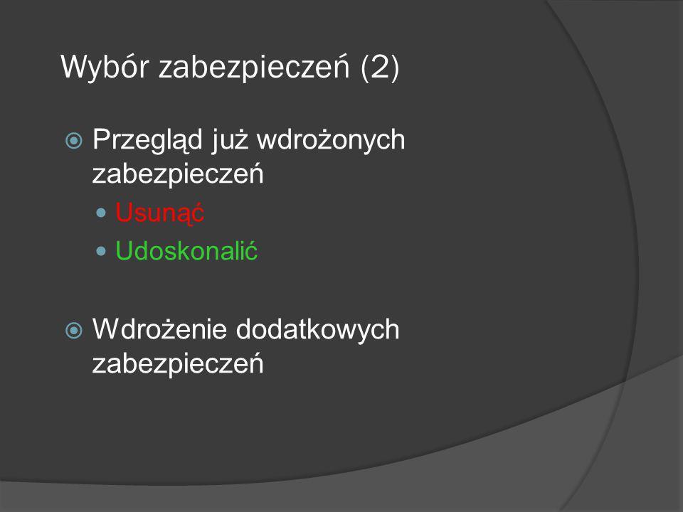 Wybór zabezpieczeń (3) Należy uwzględnić szereg czynników: Łatwość użycia danego zabezpieczenia Przejrzystość dla użytkownika Pomoc dla użytkowników w wykonywaniu ich funkcji Względna siła zabezpieczeń Rodzaje pełnionych funkcji Zapobieganie, odstraszanie, wykrywanie, odtwarzanie, naprawianie, monitorowanie, uświadamianie