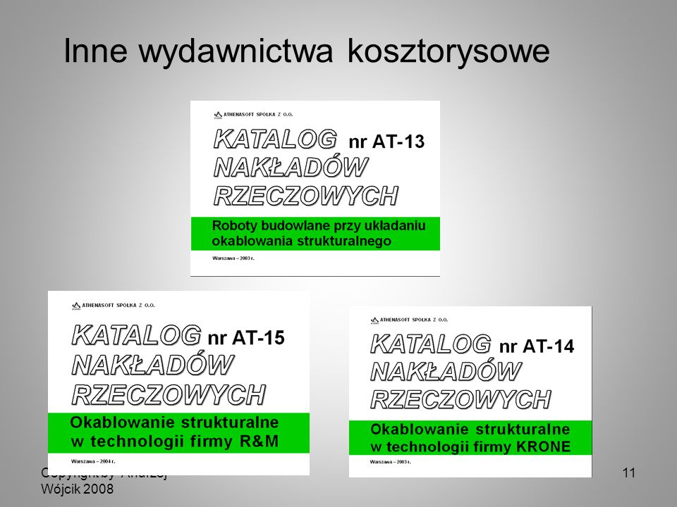 Copyright by Andrzej Wójcik 2008 11 Inne wydawnictwa kosztorysowe