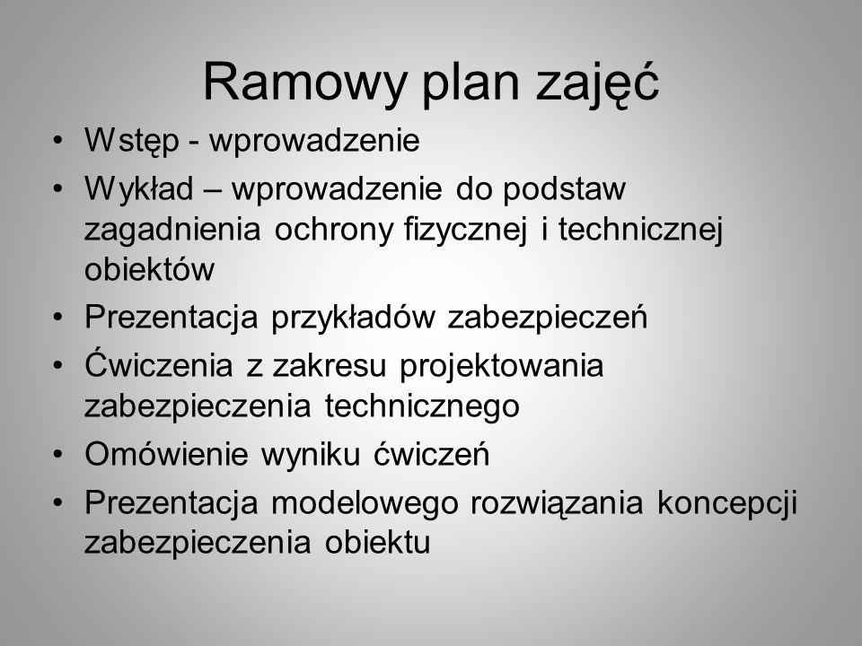 Ramowy plan zajęć Wstęp - wprowadzenie Wykład – wprowadzenie do podstaw zagadnienia ochrony fizycznej i technicznej obiektów Prezentacja przykładów za