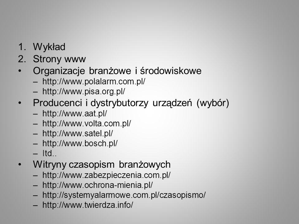 1.Wykład 2.Strony www Organizacje branżowe i środowiskowe –http://www.polalarm.com.pl/ –http://www.pisa.org.pl/ Producenci i dystrybutorzy urządzeń (w