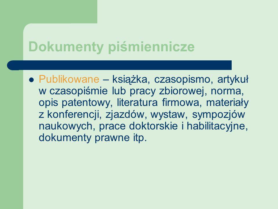 Dokumenty piśmiennicze Publikowane – książka, czasopismo, artykuł w czasopiśmie lub pracy zbiorowej, norma, opis patentowy, literatura firmowa, materi