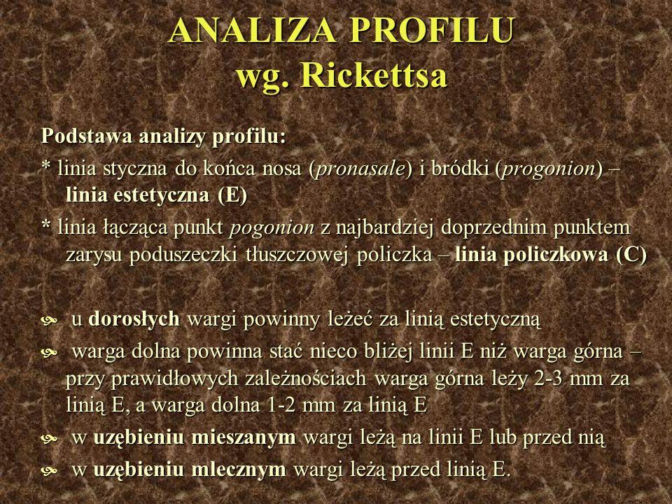 ANALIZA PROFILU wg. Rickettsa Podstawa analizy profilu: * linia styczna do końca nosa (pronasale) i bródki (progonion) – linia estetyczna (E) * linia