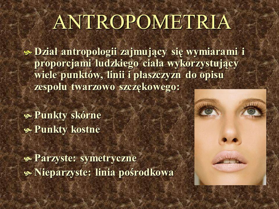 ANTROPOMETRIA Dział antropologii zajmujący się wymiarami i proporcjami ludzkiego ciała wykorzystujący wiele punktów, linii i płaszczyzn do opisu zespo