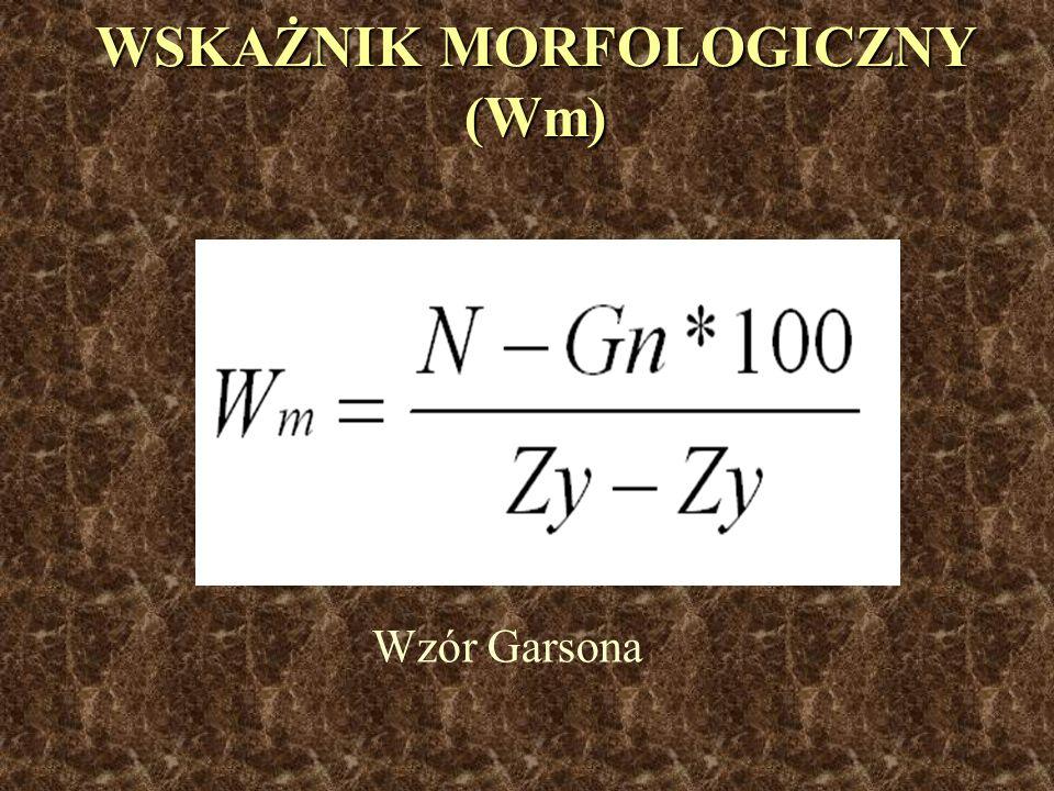 WSKAŻNIK MORFOLOGICZNY (Wm) Wzór Garsona