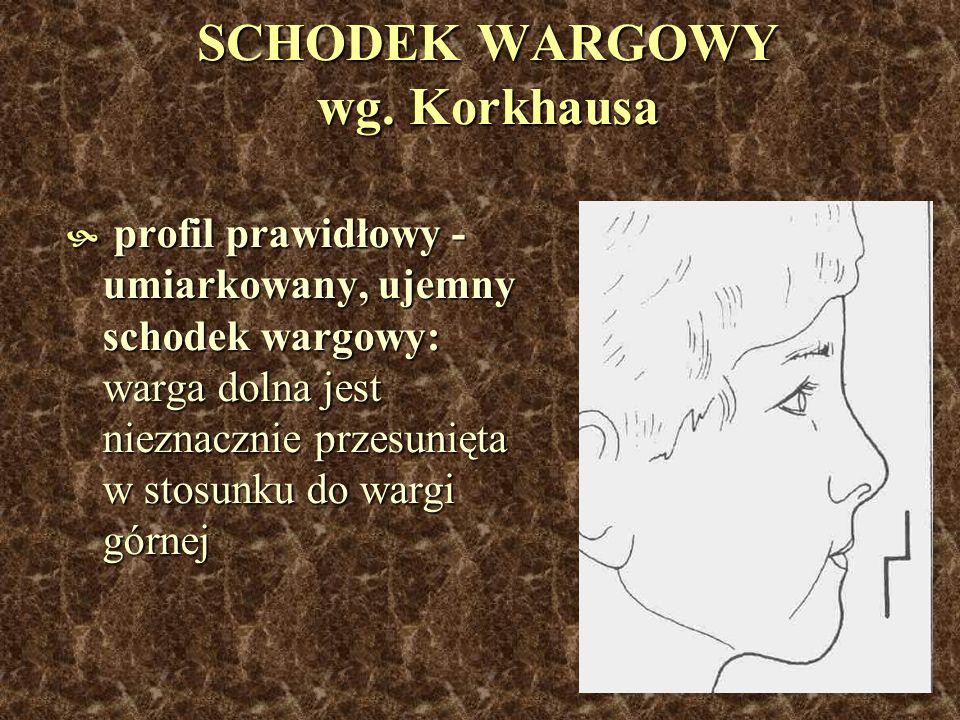SCHODEK WARGOWY wg. Korkhausa profil prawidłowy - umiarkowany, ujemny schodek wargowy: warga dolna jest nieznacznie przesunięta w stosunku do wargi gó