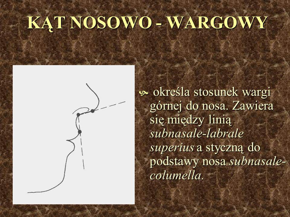 KĄT NOSOWO - WARGOWY określa stosunek wargi górnej do nosa. Zawiera się między linią subnasale-labrale superius a styczną do podstawy nosa subnasale-