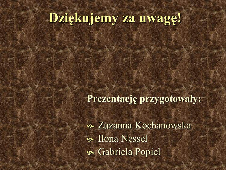 Dziękujemy za uwagę! Prezentację przygotowały: Zuzanna Kochanowska Zuzanna Kochanowska Ilona Nessel Ilona Nessel Gabriela Popiel Gabriela Popiel