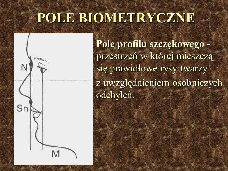 POLE BIOMETRYCZNE Pole profilu szczękowego - przestrzeń w której mieszczą się prawidłowe rysy twarzy z uwzględnieniem osobniczych odchyleń.