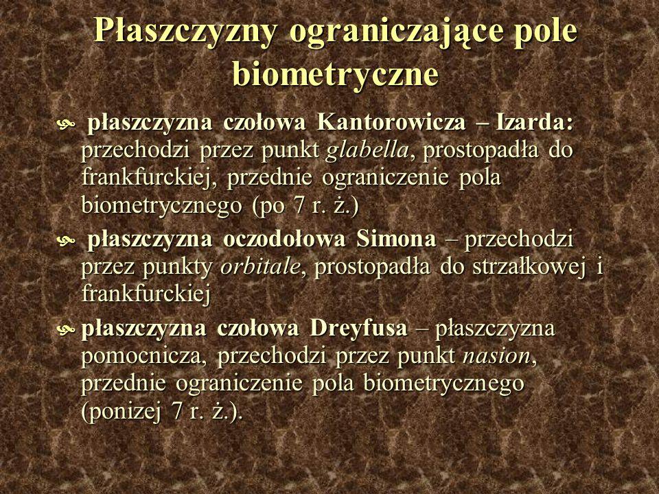 Płaszczyzny ograniczające pole biometryczne płaszczyzna czołowa Kantorowicza – Izarda: przechodzi przez punkt glabella, prostopadła do frankfurckiej,