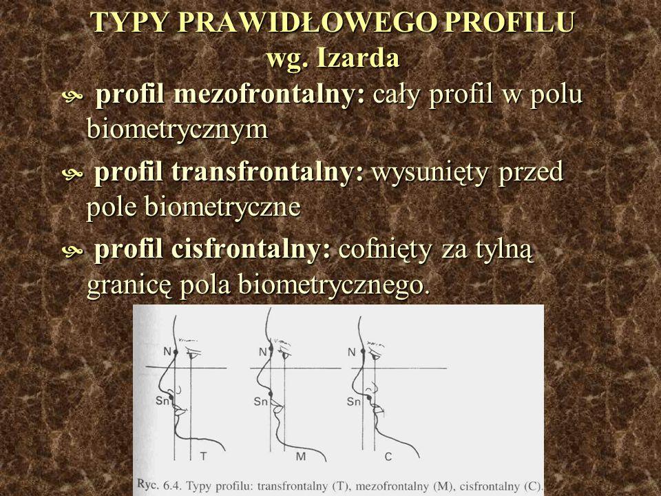 TYPY PRAWIDŁOWEGO PROFILU wg. Izarda profil mezofrontalny: cały profil w polu biometrycznym profil mezofrontalny: cały profil w polu biometrycznym pro