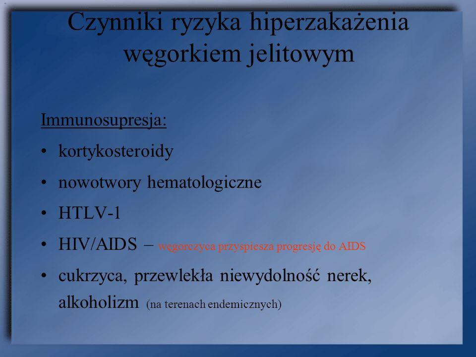 Czynniki ryzyka hiperzakażenia węgorkiem jelitowym Immunosupresja: kortykosteroidy nowotwory hematologiczne HTLV-1 HIV/AIDS – węgorczyca przyspiesza p