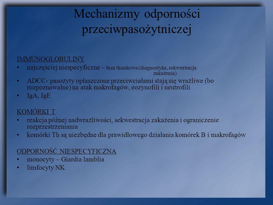 Mechanizmy odporności przeciwpasożytniczej IMMUNOGLOBULINY najczęściej niespecyficzne – faza tkankowa (diagnostyka, sekwestracja zakażenia) ADCC- paso