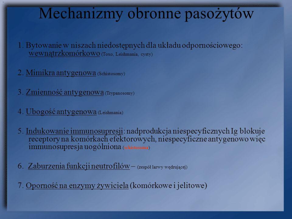 Mechanizmy obronne pasożytów 1. Bytowanie w niszach niedostępnych dla układu odpornościowego: wewnątrzkomórkowo (Toxo, Leishmania, cysty) 2. Mimikra a