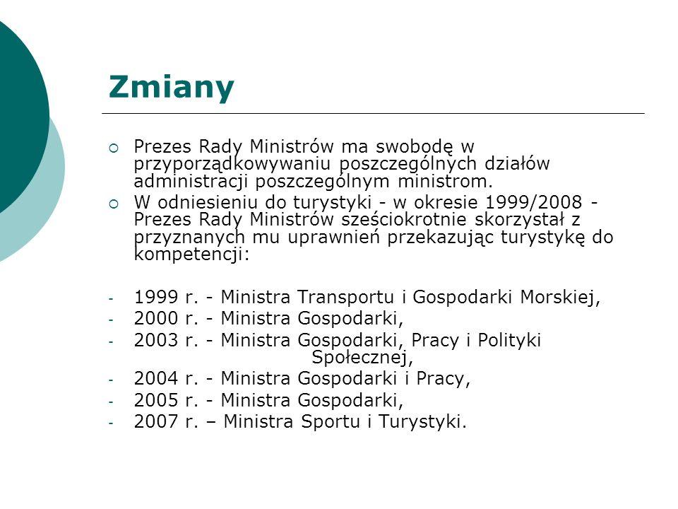 Zadania Ministra Właściwego do Spraw Turystyki Opracowywanie, wdrażanie, monitorowanie oraz współudział w tworzeniu strategicznych dokumentów rządowych i programów wpływających na rozwój turystyki, Inicjowanie i opiniowanie aktów normatywnych wpływających na rozwój turystyki, Prowadzenie działań związanych z rozwojem infrastruktury turystycznej w Polsce, Dokonywanie oceny funkcjonowania sektora usług turystycznych,