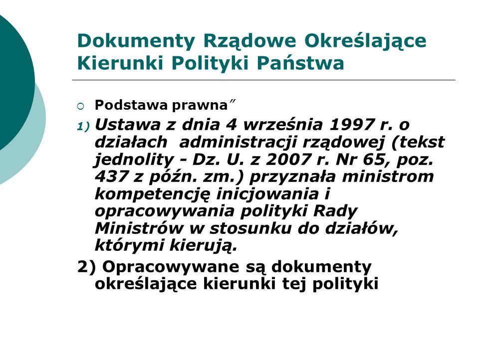 Dokumenty Rządowe Określające Kierunki Polityki Państwa- Kierunki Rozwoju Turystyki do 2015 Roku.