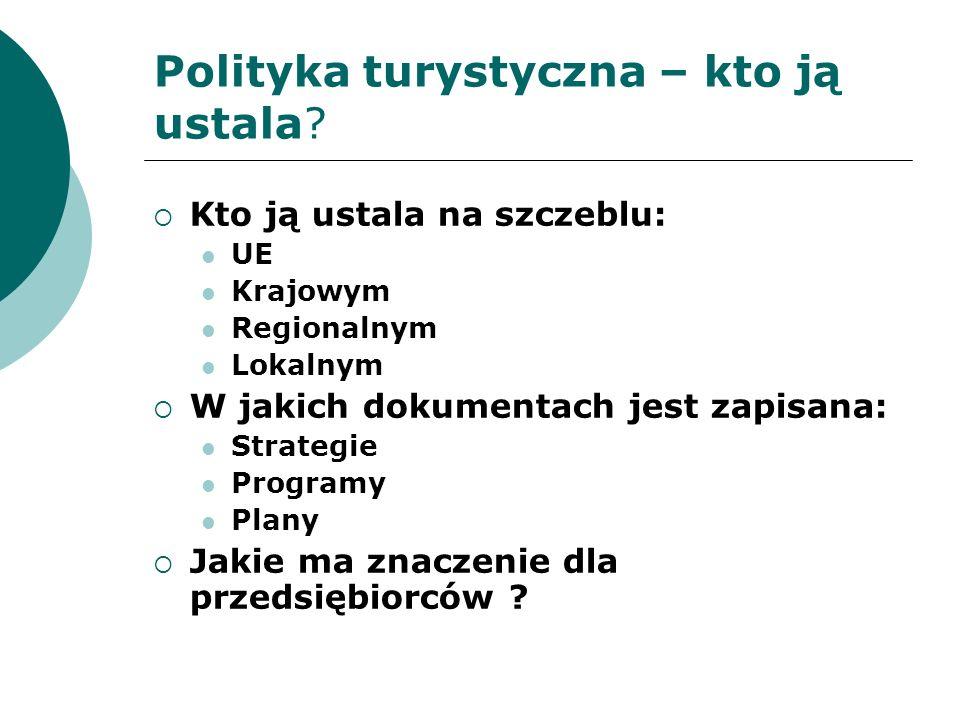 Polityka turystyczna na szczeblu UE Możliwość prowadzenia polityki zależy od zapisów Traktatu, określających kompetencje UE w określonych obszarach