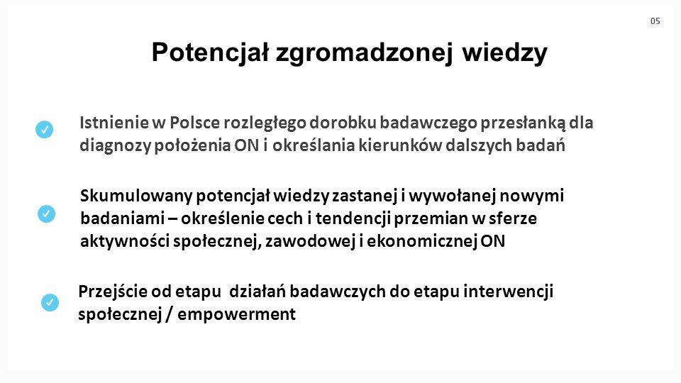 Potencjał zgromadzonej wiedzy Istnienie w Polsce rozległego dorobku badawczego przesłanką dla diagnozy położenia ON i określania kierunków dalszych ba