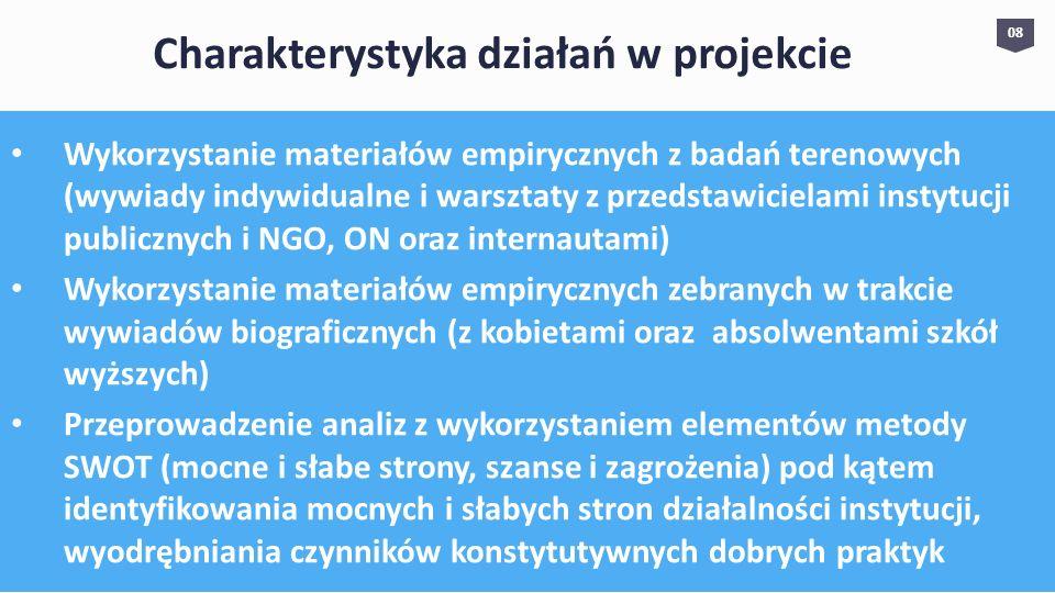 Wykorzystanie materiałów empirycznych z badań terenowych (wywiady indywidualne i warsztaty z przedstawicielami instytucji publicznych i NGO, ON oraz i