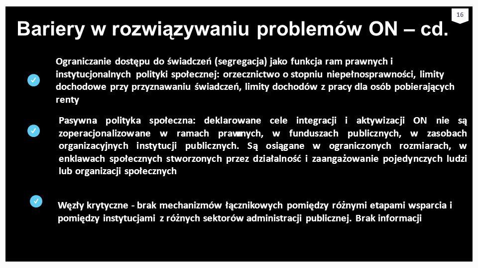 Bariery w rozwiązywaniu problemów ON – cd. 16 Ograniczanie dostępu do świadczeń (segregacja) jako funkcja ram prawnych i instytucjonalnych polityki sp
