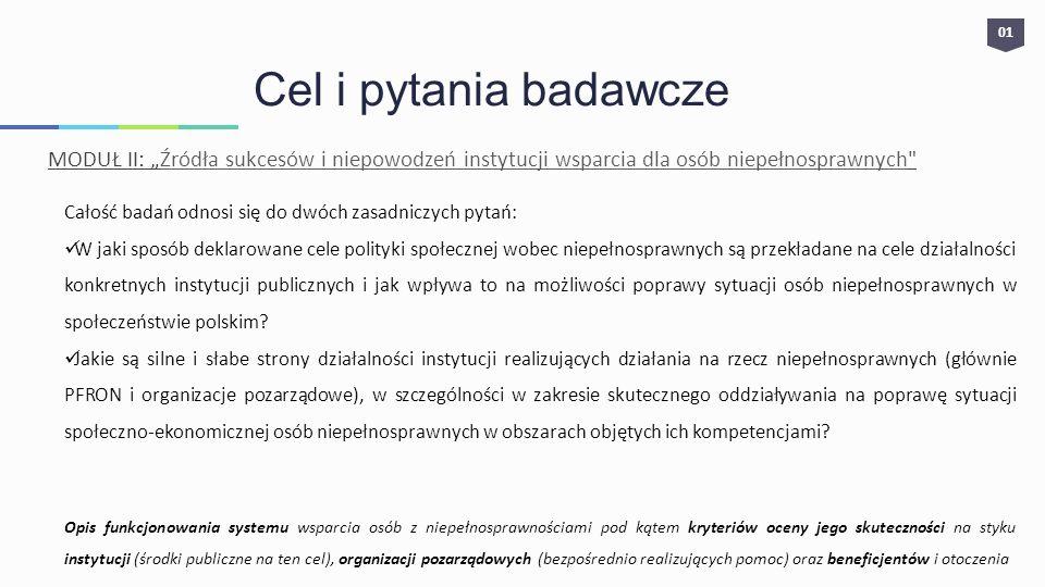 01 Cel i pytania badawcze MODUŁ II: Źródła sukcesów i niepowodzeń instytucji wsparcia dla osób niepełnosprawnych Całość badań odnosi się do dwóch zasadniczych pytań: W jaki sposób deklarowane cele polityki społecznej wobec niepełnosprawnych są przekładane na cele działalności konkretnych instytucji publicznych i jak wpływa to na możliwości poprawy sytuacji osób niepełnosprawnych w społeczeństwie polskim.