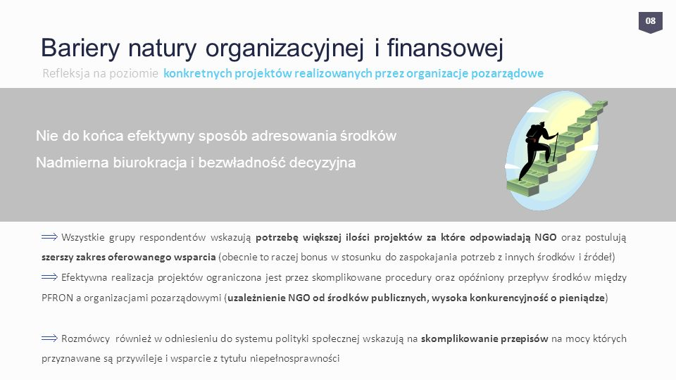 0808 Bariery natury organizacyjnej i finansowej Refleksja na poziomie konkretnych projektów realizowanych przez organizacje pozarządowe Nie do końca efektywny sposób adresowania środków Nadmierna biurokracja i bezwładność decyzyjna Wszystkie grupy respondentów wskazują potrzebę większej ilości projektów za które odpowiadają NGO oraz postulują szerszy zakres oferowanego wsparcia (obecnie to raczej bonus w stosunku do zaspokajania potrzeb z innych środków i źródeł) Efektywna realizacja projektów ograniczona jest przez skomplikowane procedury oraz opóźniony przepływ środków między PFRON a organizacjami pozarządowymi (uzależnienie NGO od środków publicznych, wysoka konkurencyjność o pieniądze) Rozmówcy również w odniesieniu do systemu polityki społecznej wskazują na skomplikowanie przepisów na mocy których przyznawane są przywileje i wsparcie z tytułu niepełnosprawności