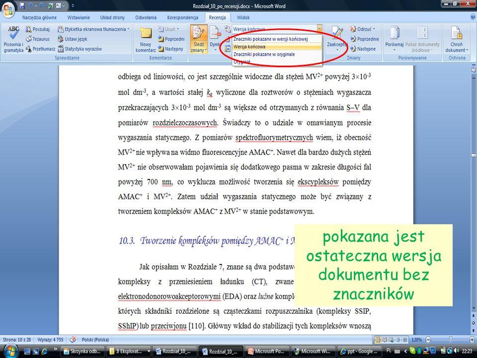 17 pokazana jest ostateczna wersja dokumentu bez znaczników