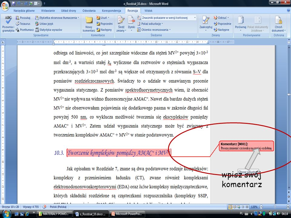 16 pokazane są wszystkie komentarze i zmiany wstawiony tekst jest wyświetlany w kolorze czerwonym