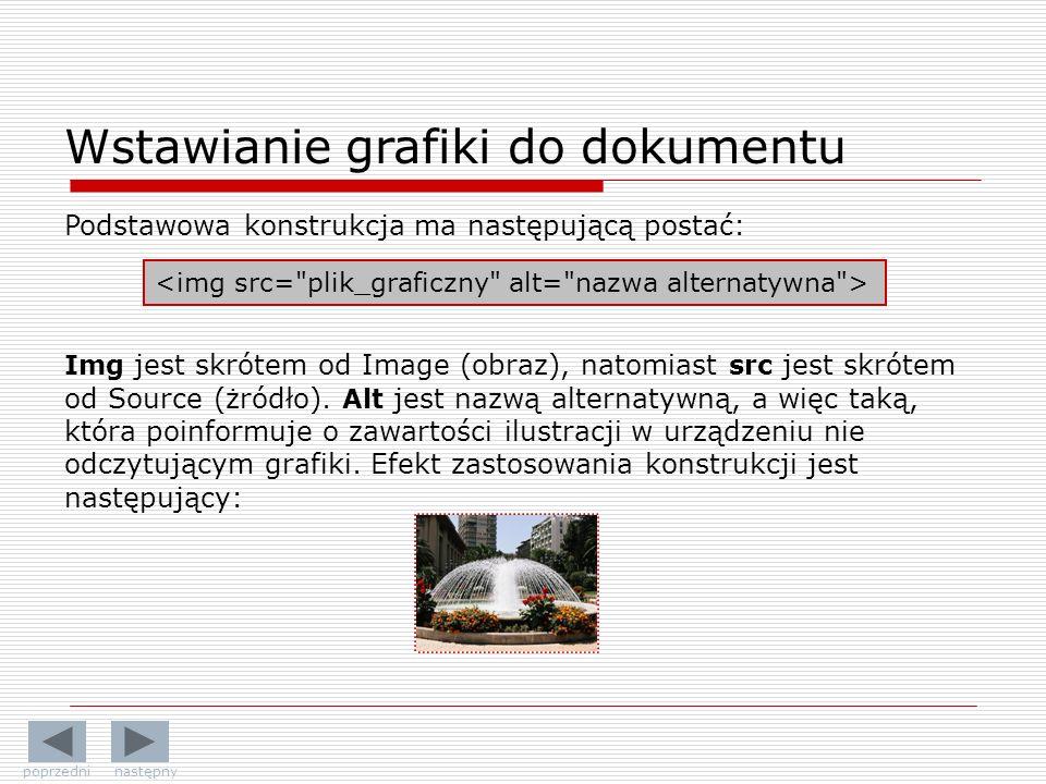 Wstawianie grafiki do dokumentu Img jest skrótem od Image (obraz), natomiast src jest skrótem od Source (żródło). Alt jest nazwą alternatywną, a więc