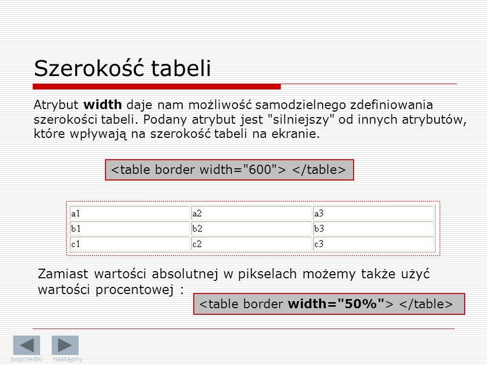 Szerokość tabeli Atrybut width daje nam możliwość samodzielnego zdefiniowania szerokości tabeli. Podany atrybut jest