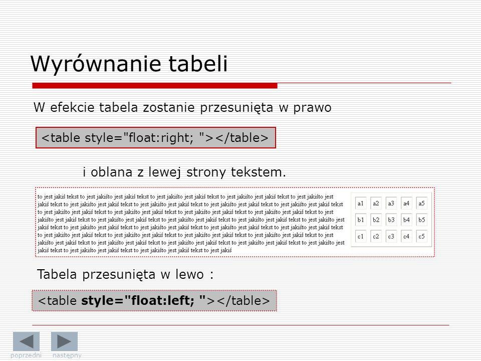 Wyrównanie tabeli W efekcie tabela zostanie przesunięta w prawo i oblana z lewej strony tekstem. Tabela przesunięta w lewo : poprzedni następny