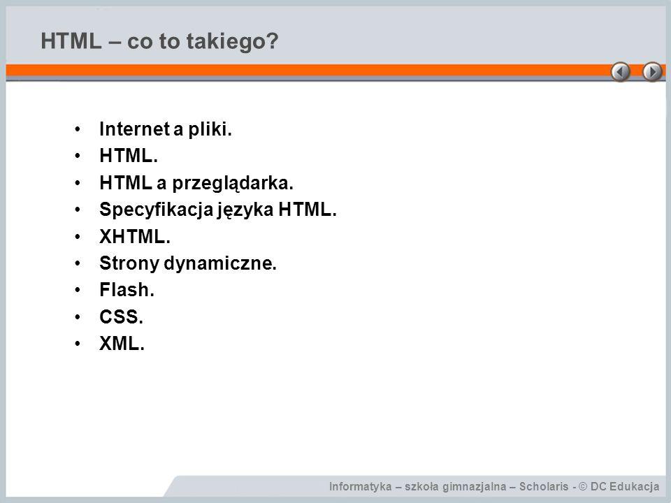 Informatyka – szkoła gimnazjalna – Scholaris - © DC Edukacja HTML – co to takiego.
