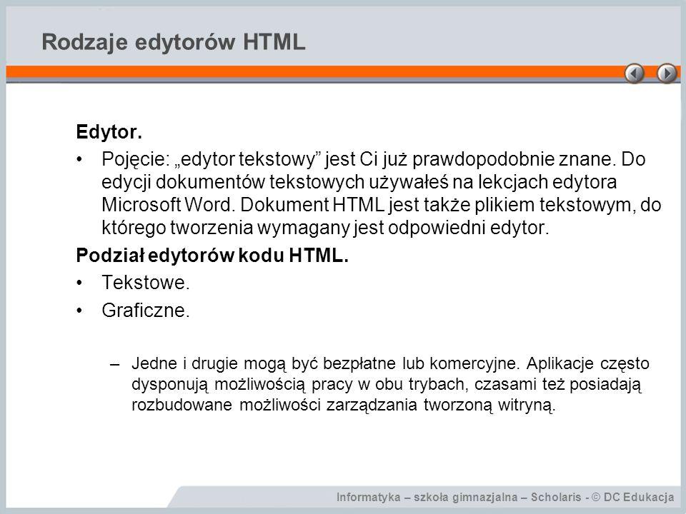 Informatyka – szkoła gimnazjalna – Scholaris - © DC Edukacja Rodzaje edytorów HTML Edytor.