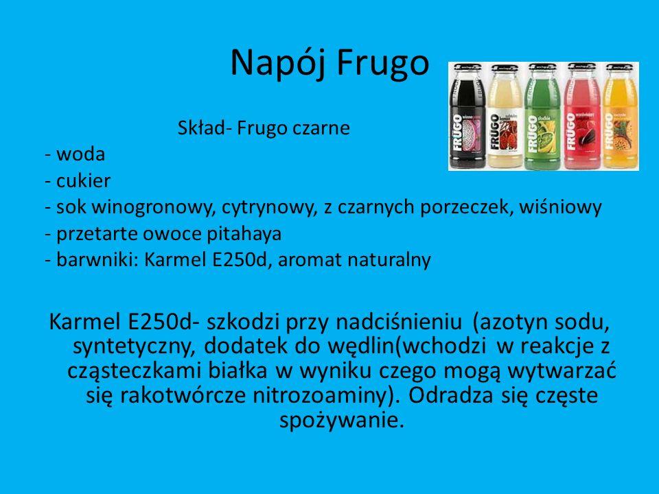 Napój Frugo Skład- Frugo czarne - woda - cukier - sok winogronowy, cytrynowy, z czarnych porzeczek, wiśniowy - przetarte owoce pitahaya - barwniki: Ka