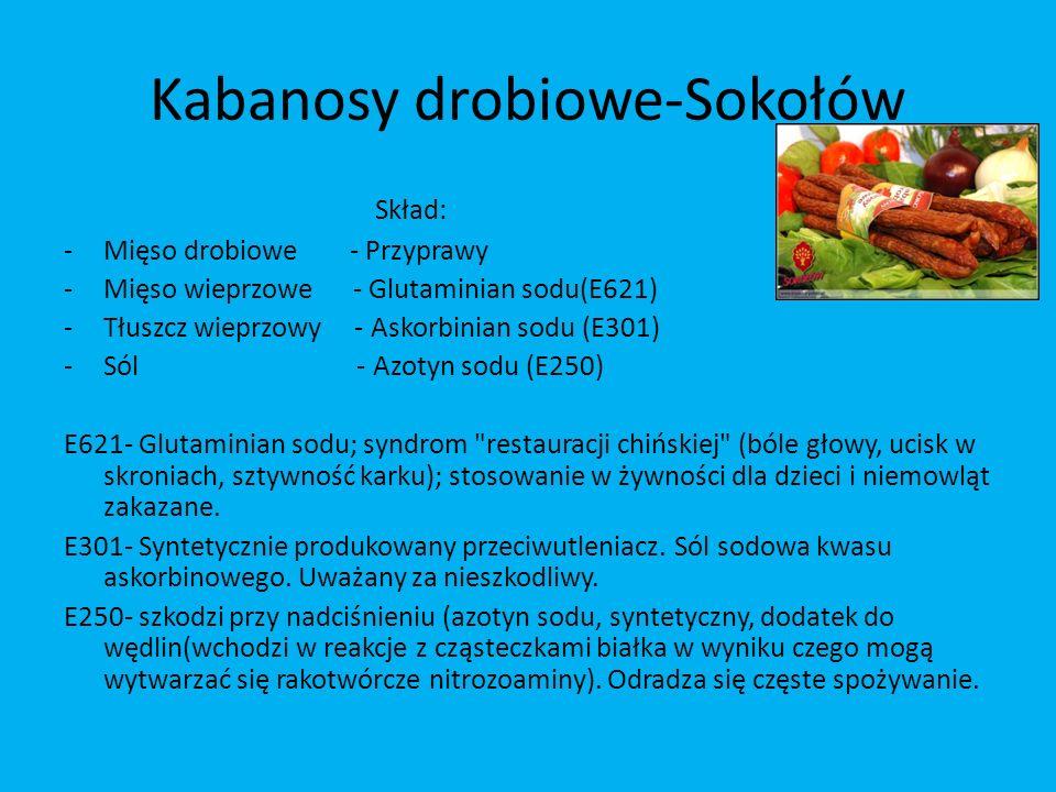 Kabanosy drobiowe-Sokołów Skład: -Mięso drobiowe - Przyprawy -Mięso wieprzowe - Glutaminian sodu(E621) -Tłuszcz wieprzowy - Askorbinian sodu (E301) -S