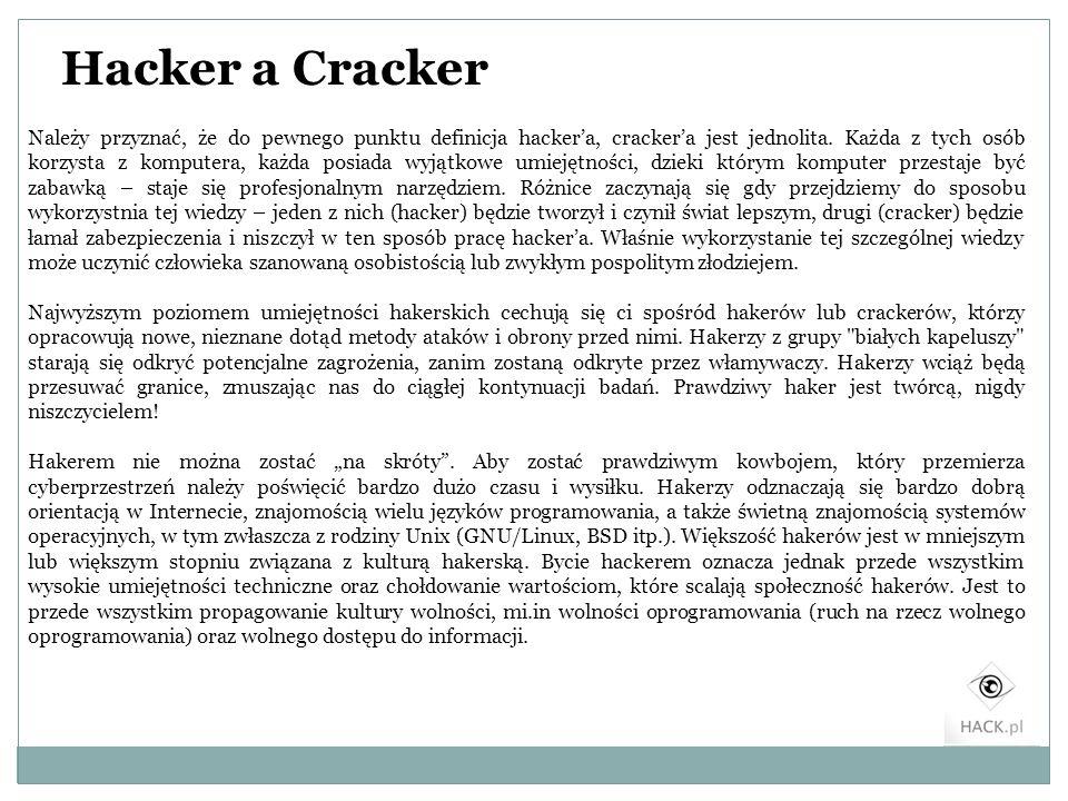 Hacker a Cracker Należy przyznać, że do pewnego punktu definicja hackera, crackera jest jednolita. Każda z tych osób korzysta z komputera, każda posia