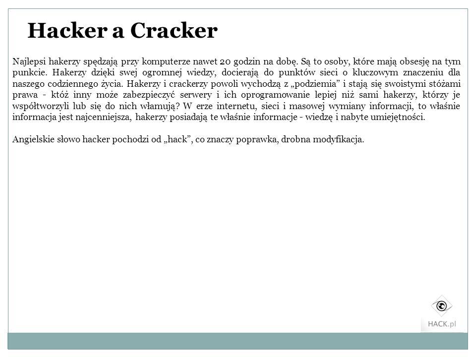 Hacker a Cracker Najlepsi hakerzy spędzają przy komputerze nawet 20 godzin na dobę. Są to osoby, które mają obsesję na tym punkcie. Hakerzy dzięki swe