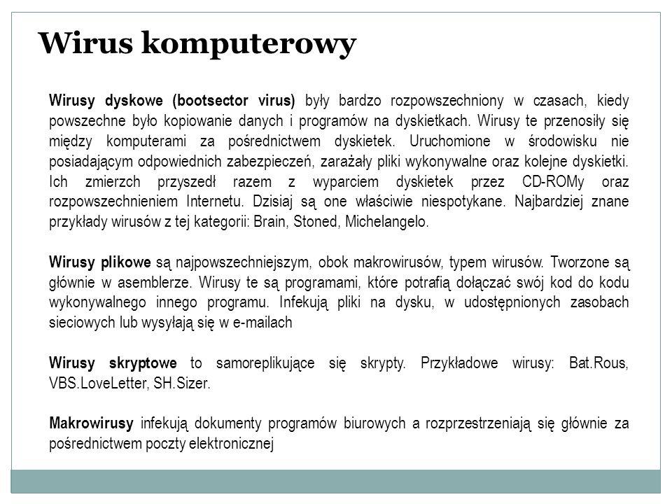 Wirus komputerowy Wirusy dyskowe (bootsector virus) były bardzo rozpowszechniony w czasach, kiedy powszechne było kopiowanie danych i programów na dys