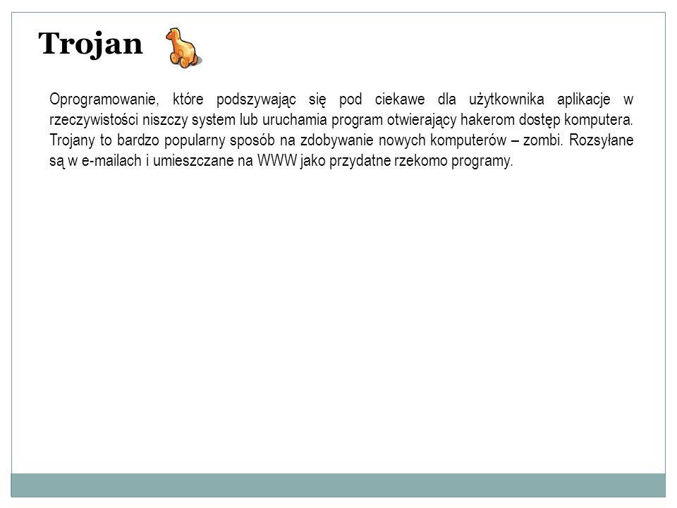 Trojan Oprogramowanie, które podszywając się pod ciekawe dla użytkownika aplikacje w rzeczywistości niszczy system lub uruchamia program otwierający h