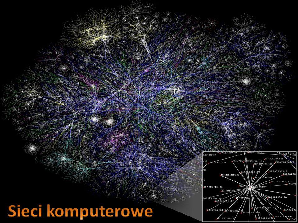 Sieć komputerową – stanowią już dwa komputery, które połączone są ze sobą w celu komunikacji, wymiany plików, udostępniania danych i urządzeń (np.